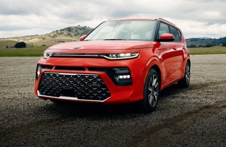 2021 Kia Soul in red parked view on road