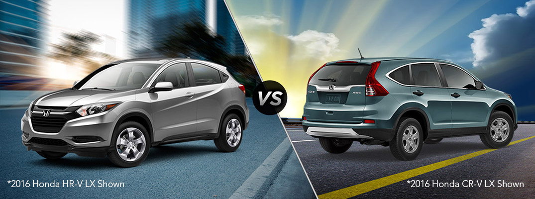 How does the 2016 Honda CR-V compare to the 2016 Honda HR-V?