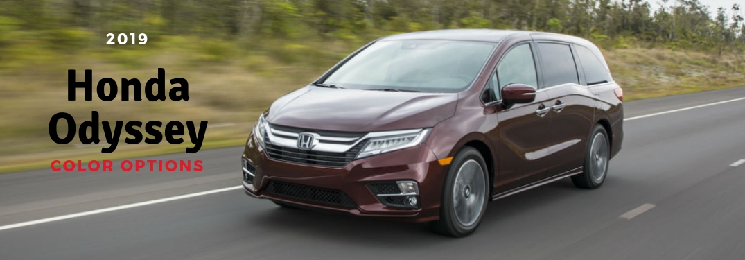 2019 Honda Odyssey Color Options, text on a driver side exterior image of a red 2019 Honda Odyssey