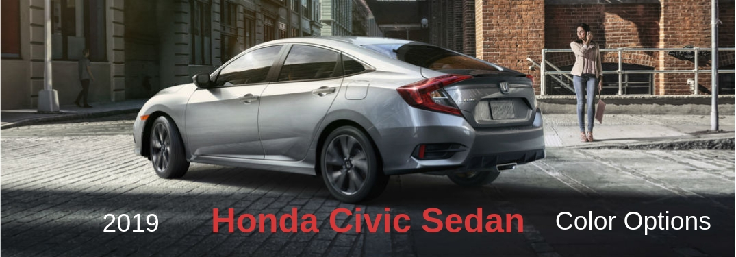 2019 Honda Civic Sedan Color Options, text on a driver side exterior image of a gray 2019 Honda Civic Sedan