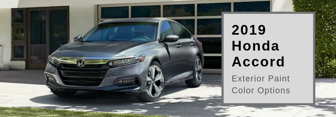 2019 Honda Accord Color Options, text next to a front exterior image of a gray 2019 Honda Accord Sedan