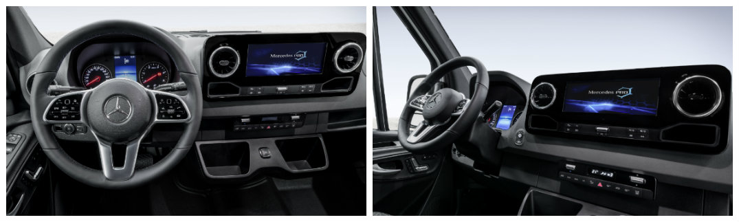 New Interior Of The Mercedes Benz Sprinter With Steering Wheel And  Infotainment System
