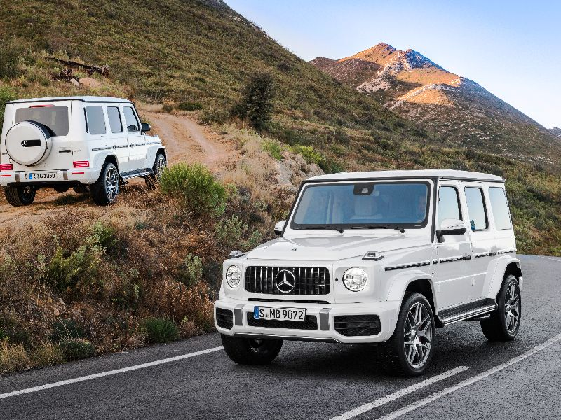 2019 mercedes-amg g63 front and back parked outdoors