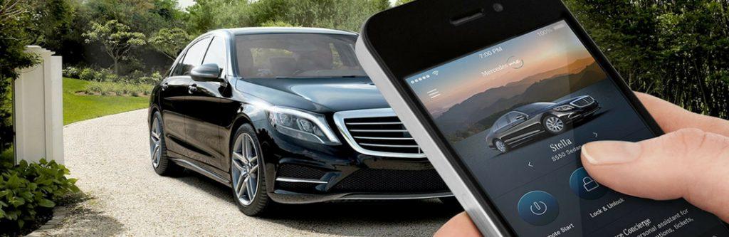 smartphone controlling mercedes-benz model