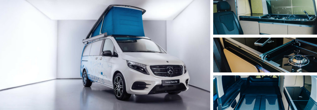 collage of interior and exterior of new mercedes-benz marco polo concept camper van