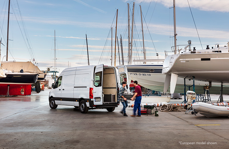 white 2018 mercedes-benz sprinter cargo van by boats