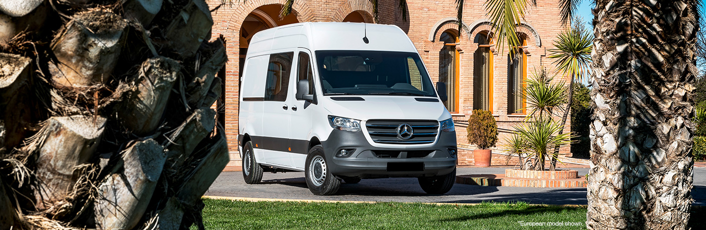 mercedes-benz cargo van by palm trees