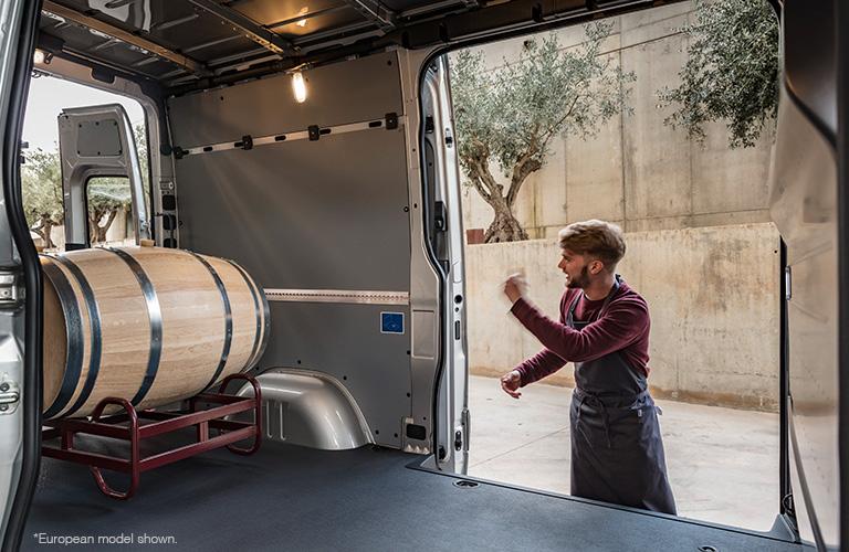 barrel inside of the 2018 mercedes-benz sprinter cargo van