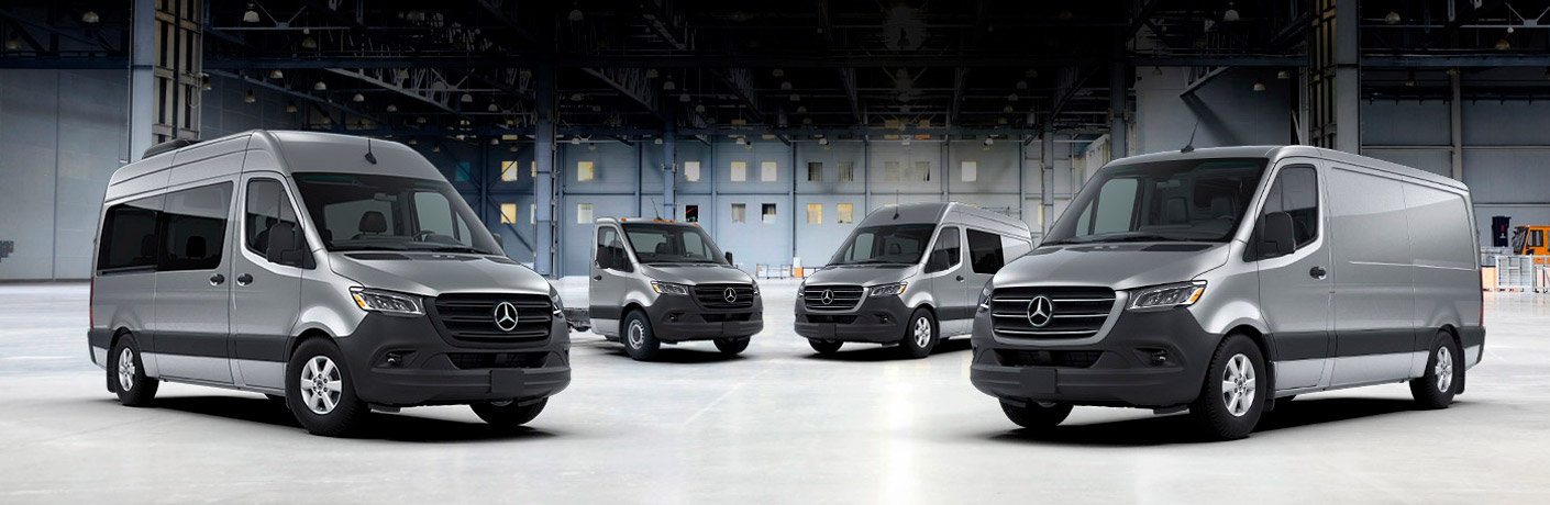 Mercedes-Benz sprinter vans in a white room