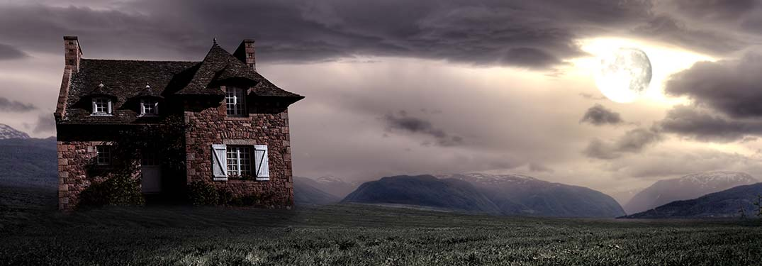 haunted house in a storm