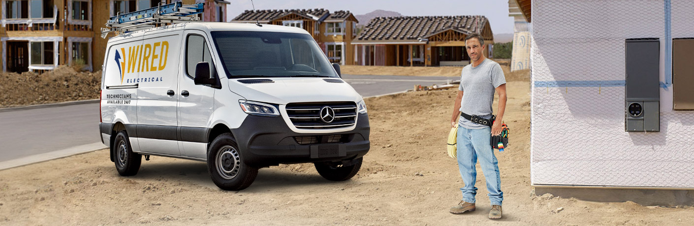 mercedes-benz sprinter crew van with man