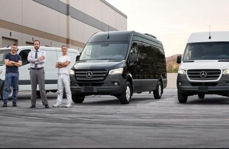 Mercedes-Benz vans by three people