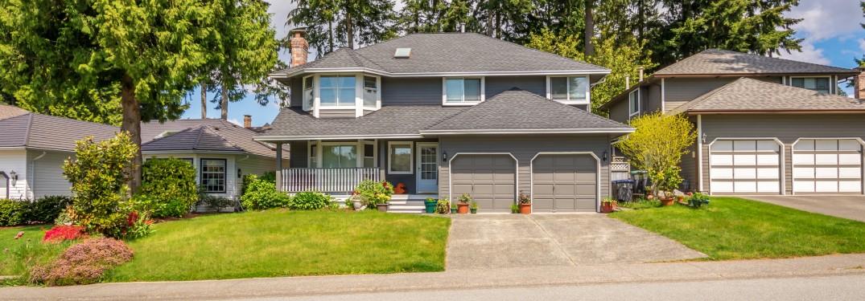 a suburban house with a garage