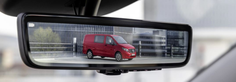 the digital rear view mirror in a Mercedes-Benz van
