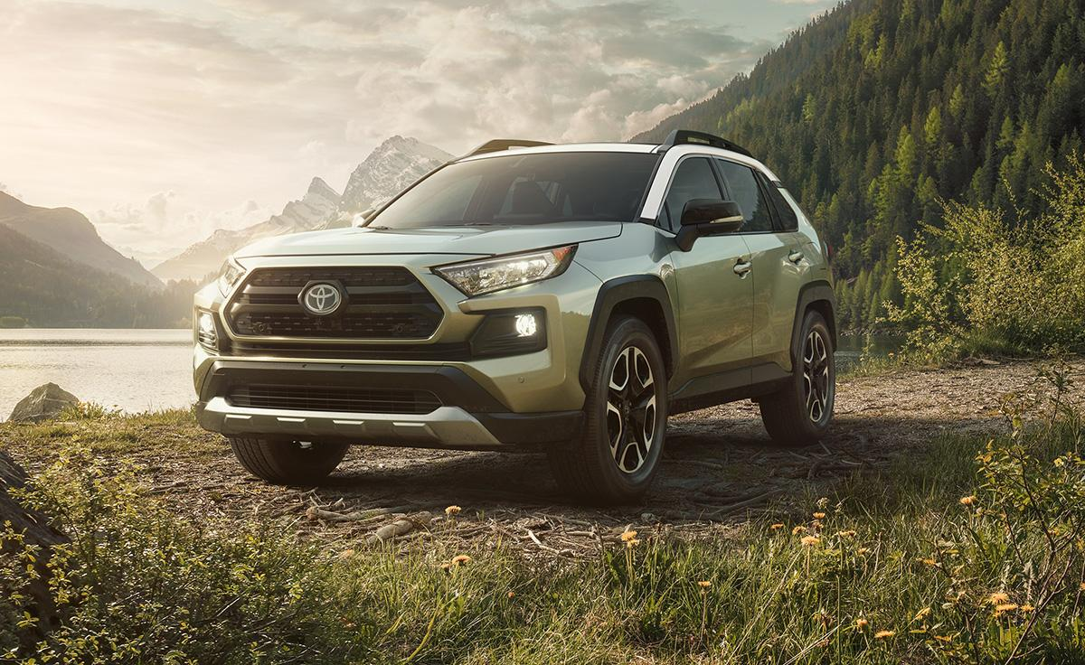 Image of a green 2019 Toyota RAV4 parked in front of a scenic, wooded landscape.