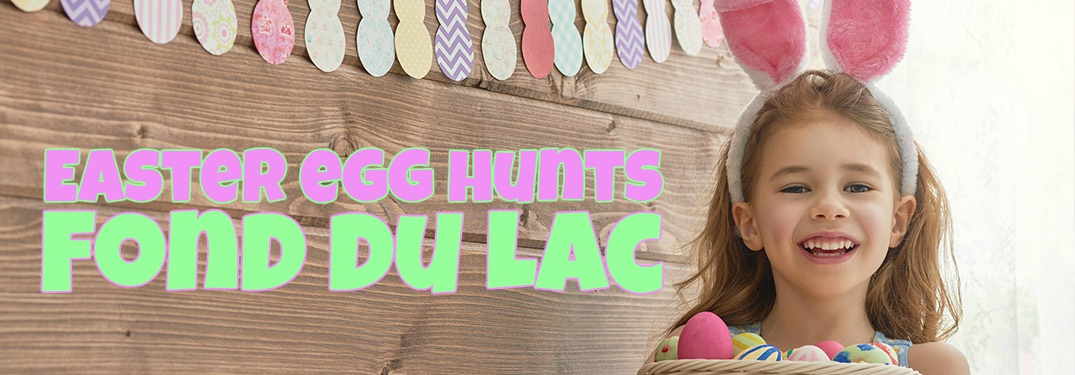 Easter egg hunts in Fond du Lac with a girl in rabbit ears