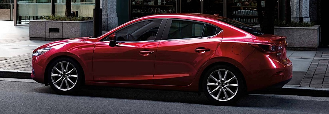 2018 Mazda3 sedan red side view