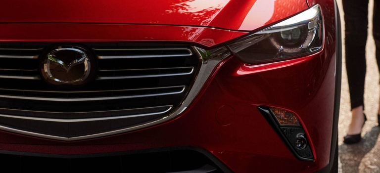 2019 Mazda CX-3 red headlights close up