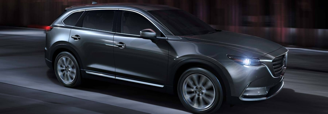 2019 Mazda CX-9 gray side view at night