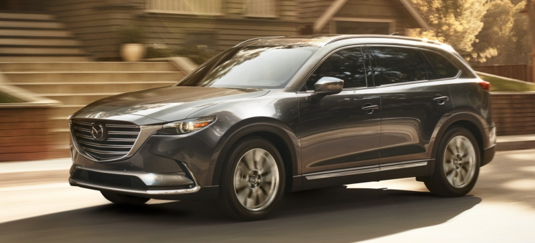 2019 Mazda CX-9 gray side view in motion