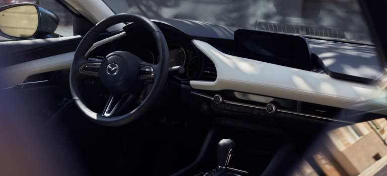 2019 Mazda3 dashboard and screen side view