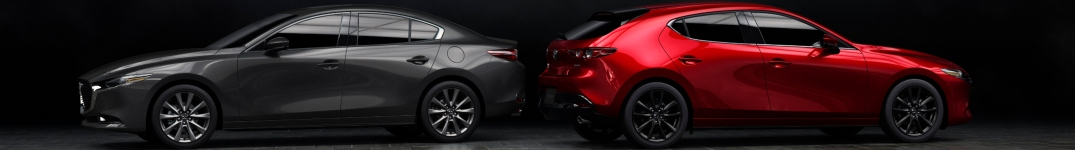 2019 Mazda3 gray and red hatchback and sedan