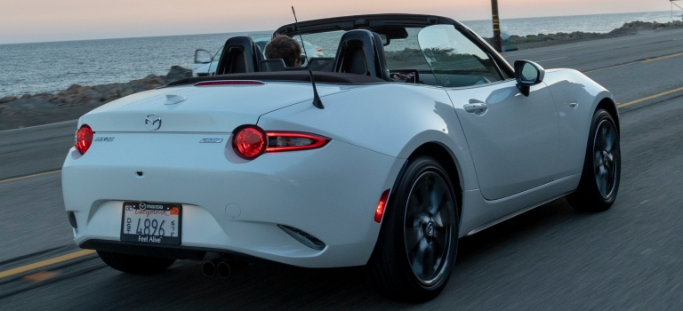 2019 Mazda MX-5 Miata white back view with top down