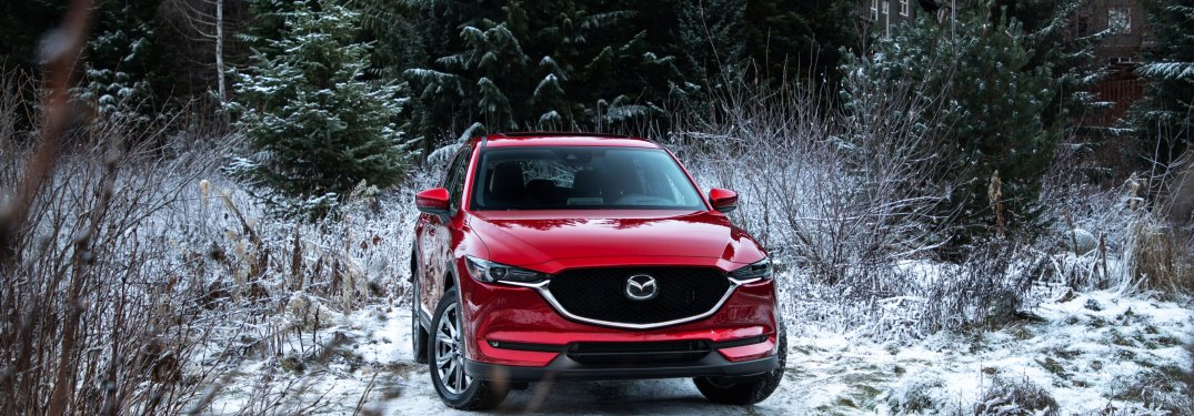 2019 Mazda CX-5 red front view in snow surrounded by pines