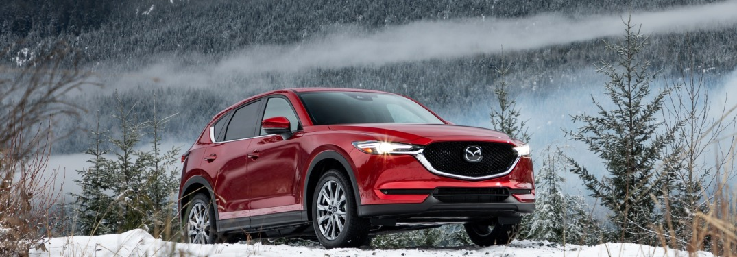 2019 Mazda CX-5 red side view in snow and trees