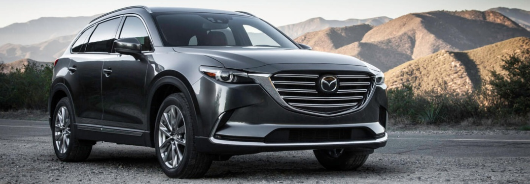 2019 Mazda CX-9 gray front view in the mountains
