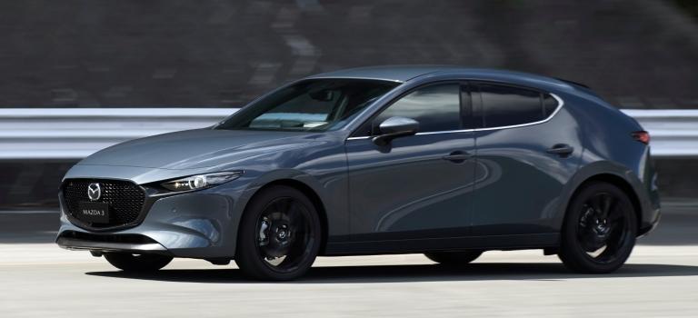 2019 Mazda3 hatchback gray side view