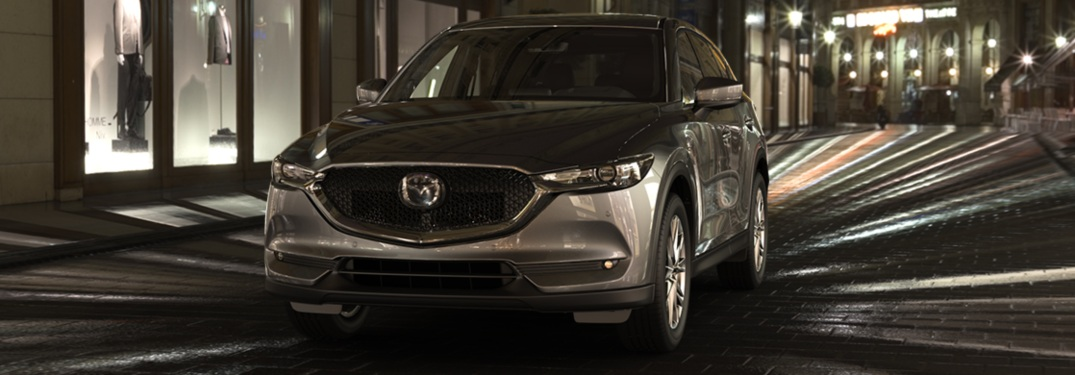 2019 Mazda CX-5 silver front view at night
