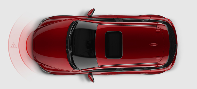 2019 Mazda CX-3 red overhead view with radar lines in front