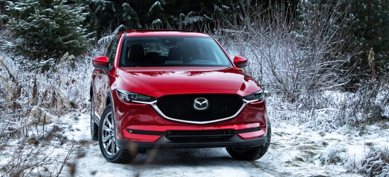 2019 Mazda CX-5 red front view in the snow