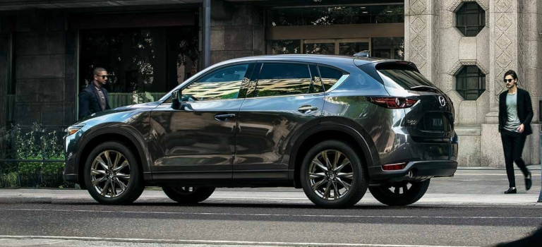 2019 Mazda CX-5 gray side view stopped on the road