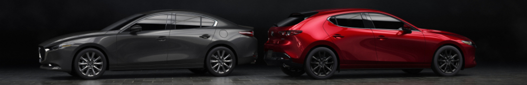 2019 Mazda3 hatchback and sedan side view red and gray