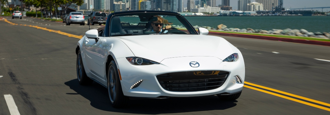 2019 Mazda MX-5 Miata white front view on the road