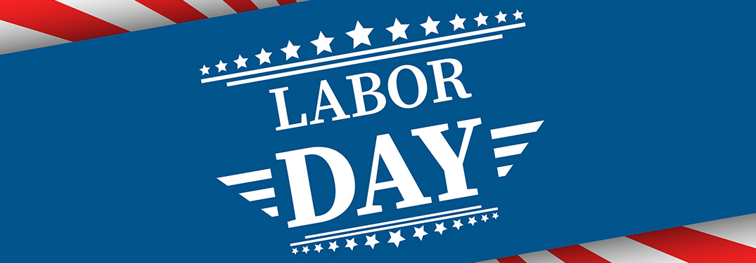 Labor Day on a blue American flag-themed background