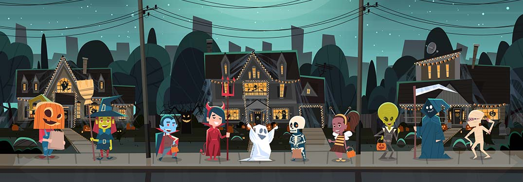 Cartoon kids lined up in Halloween costumes