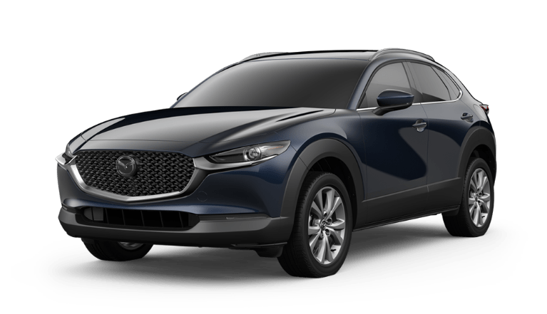 2020 Mazda CX-30 side view in Deep Crystal Blue Mica
