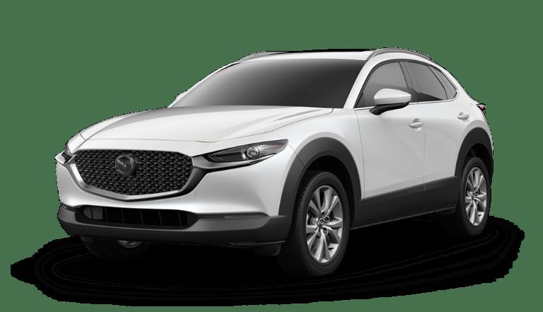 2020 Mazda CX-30 side view in Snowflake White Pearl Mica