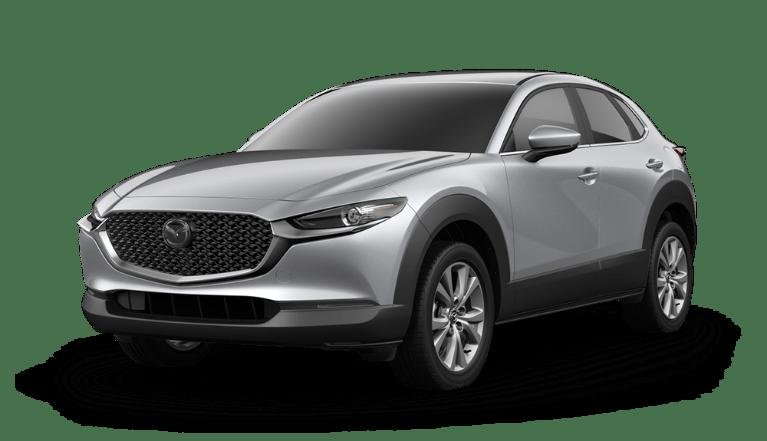 2020 Mazda CX-30 side view in Sonic Silver Metallic