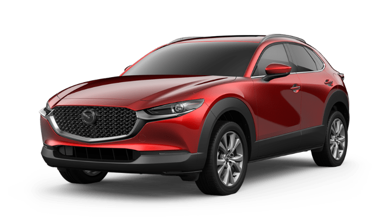 2020 Mazda CX-30 side view in Soul Red Crystal Metallic