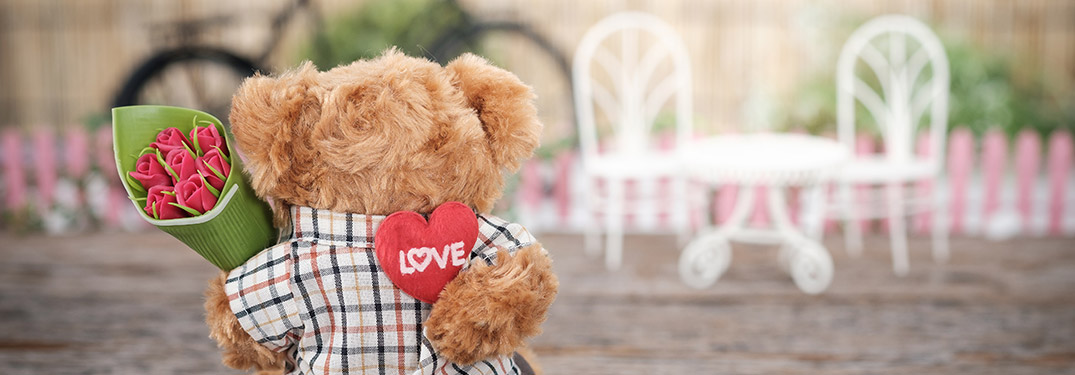 Valentine's Day bear with flowers