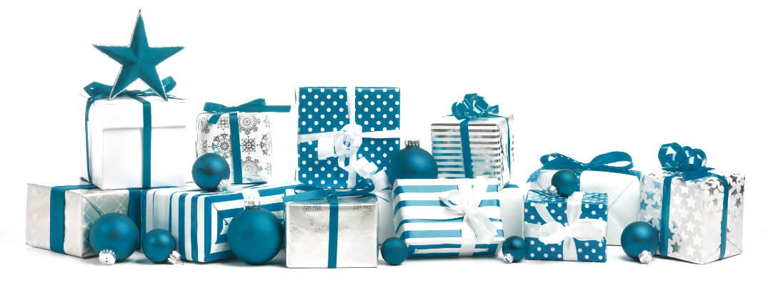 Pile of holiday gifts and ornaments in blue color