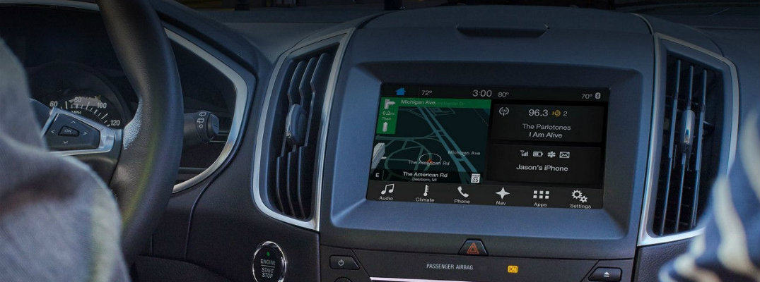 SYNC 3 infotainment system set in the dash of a Ford vehicle