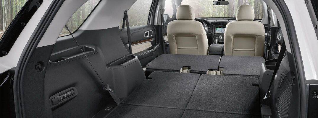 Cargo area of 2018 Ford Explorer with collapsed seats