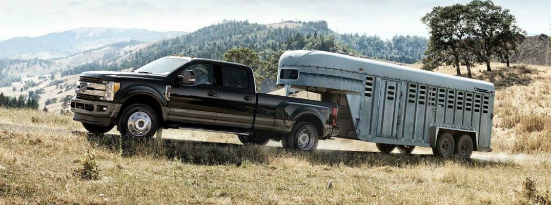 2018 Ford F-250 Super Duty towing a livestock trailer