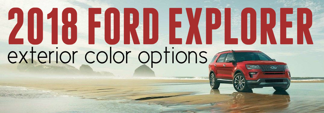 Red-2018-Ford-Explorer-on-beach-with-text-overlay-saying-2018-Ford-Explorer-exterior-color-options