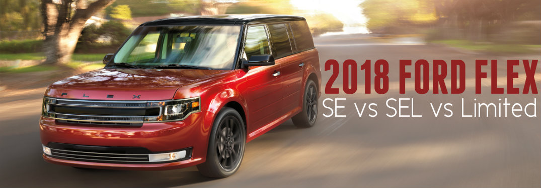 Red-Ford-Flex-driving-down-road-with-text-overlay-saying-2018-Ford-Flex-SE-vs-SEL-vs-Limited